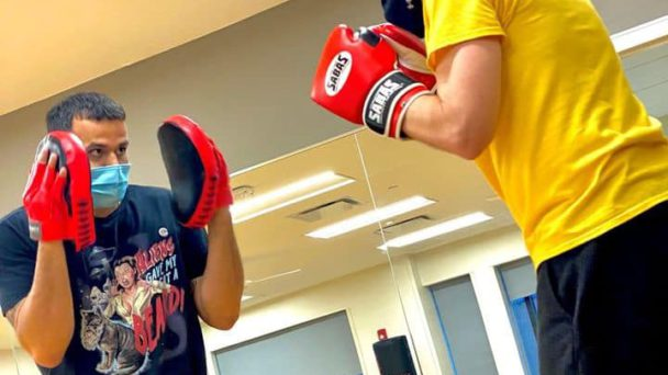 Picture of SBH Healthplex Fitness Center, teaching boxing.