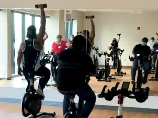 A picture of spinning class at SBH Healthplex Fitness Center